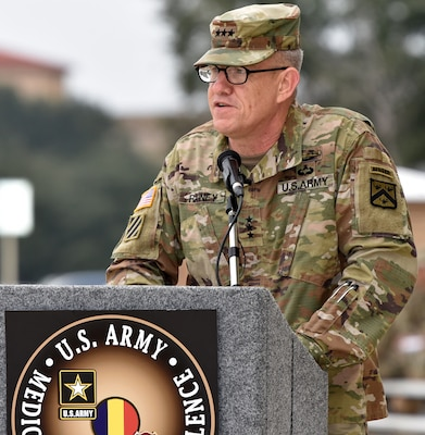 Lt. Gen. James E. Rainey giving his remarks during the U.S. Army Medical Center of Excellence change of command ceremony at Joint Base San Antonio-Fort Sam Houston Jan. 10.