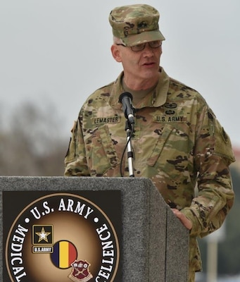 Maj. Gen. Dennis P. LeMaster giving his remarks during the U.S. Army Medical Center of Excellence change of command ceremony at Joint Base San Antonio-Fort Sam Houston Jan. 10.
