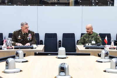 Chairman of the Joint Chiefs of Staff Gen. Mark A. Milley meets with Chief of the General Staff of the Polish Armed Forces, Gen. Raymond Andrzejczak in Brussels, Belgium, Jan. 13, 2020. NATO continues to evolve and adapt to meet new security challenges, achieve its strategic objectives and remain postured to respond to current and future missions.