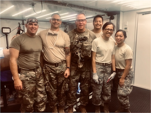 Left to Right, Lt. Col. (Dr.) Sean Martin, Maj. Jason Vallot, Lt. Col. (Dr.) Jesse Wells, Capt. Llewy Rimular, Lt. Col. Jessica Arcilla and Tech Sgt. MaryLou Ancheta of the 349th Medical Squadron, Travis Air Force Base, California, comprise the first team of Air Force Reservists to complete the Air Force's new Ground Surgical Team training course. (Courtesy photos)