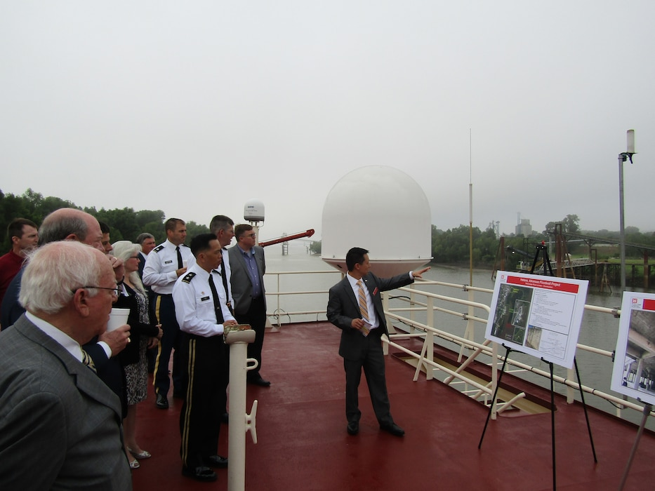 Mississippi River Commission members were briefed on the current status of the Helena Floodwall Aug. 20, 2019. ASA (CW) R.D. James later joined the MRC aboard the MV Mississippi to see the critical lands and infrastructure protected by the floodwall.