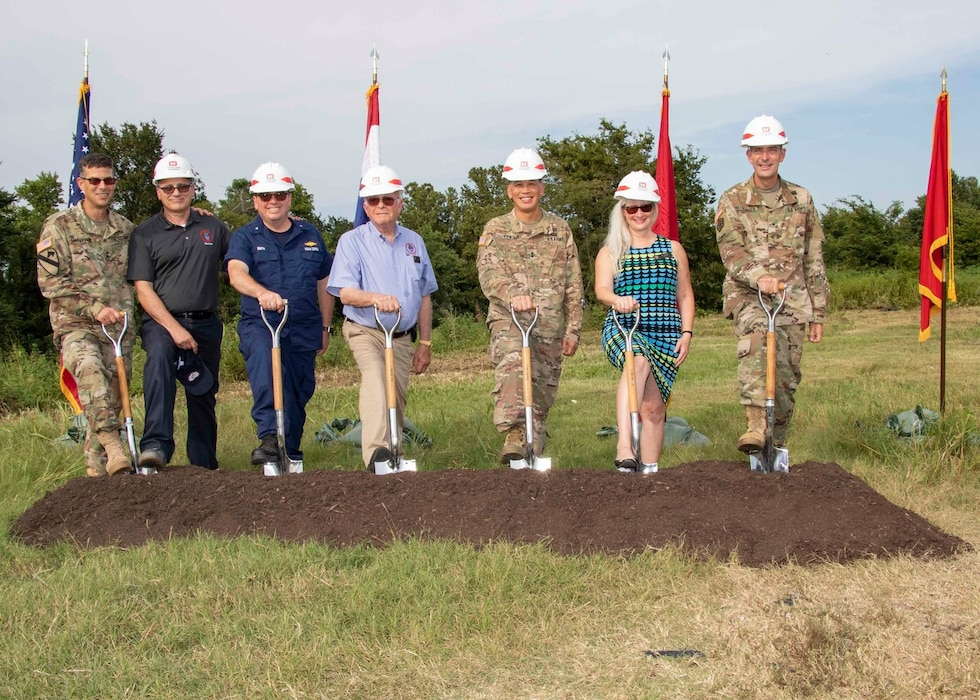On Aug. 19, 2019, Mississippi River commissioners attended the groundbreaking ceremony for the Elk Chute Levee Setback Project in Dunklin County, MO.