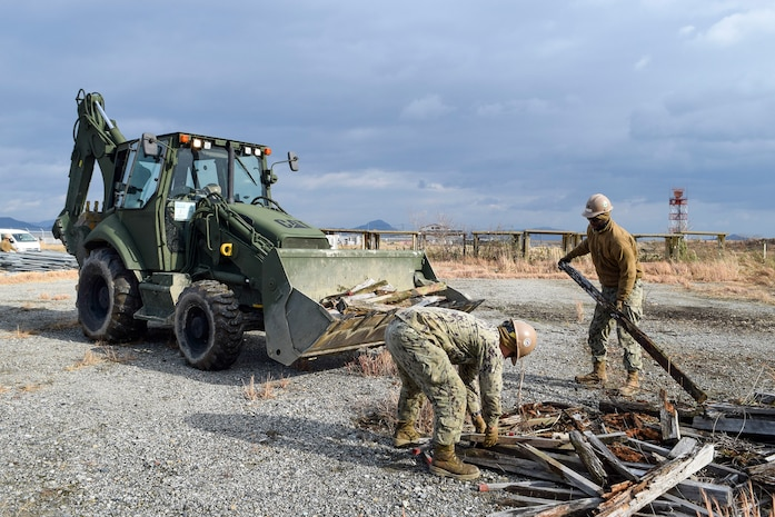 U.S. Navy Seabees with NMCB 5's Detail Iwakuni Start a Landfill Capping Project in Support of MCAS