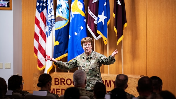 U.S. Air Force Surgeon General, Lt. Gen. Dorothy A. Hogg speaks to doctors, nurses and technicians Jan. 9, 2020 during a visit to Brooke Army Medical Center, Joint Base San Antonio, Texas. Airmen from BAMC and Wilford Hall Ambulatory Surgical Center gathered for a town hall to hear Hogg's perspective on the future of military medicine and ask questions. (U.S. Air Force photo by Tech. Sgt. Katherine Spessa//Released)