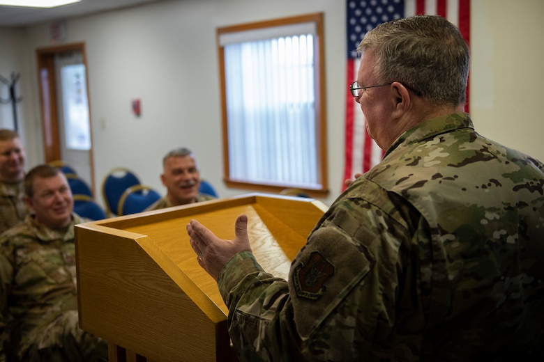 Lt. Col. Mark McDaniel, 10th Air Force chaplain liaison, visits 919th Special Operations Wing members, Jan. 11, 2020, Duke Field Chapel, Duke Field, Fla.