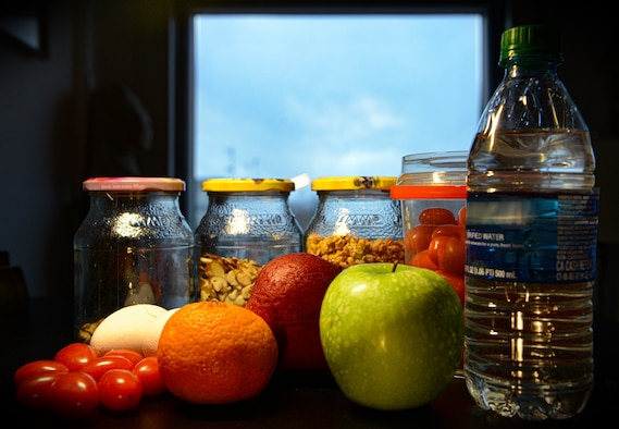 A display of fruits, vegetables, nuts and water, as shown at Ramstein Air Base, Germany, Jan. 10, 2020.