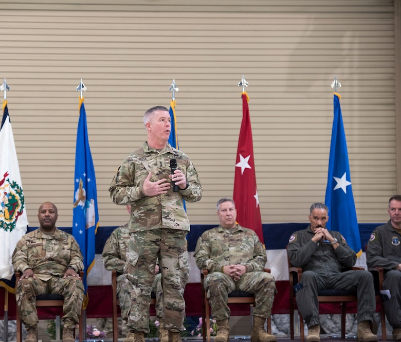 West Virginia National Guard Adjutant General, Maj. Gen. James Hoyer, talks about the great responsibility of being a wing commander during a change of command ceremony at the 167th Airlift Wing, West Virginia Air National Guard, Jan. 12, 2020. Col. Martin Timko assumed command of the wing, Col. David Cochran relinquished command during the ceremony.