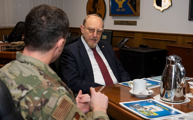 Dr. Heinrich Kreft, German ambassador to Luxembourg, center, speaks with U.S. Air Force Col. David Epperson, 52nd Fighter Wing commander, left, at Spangdahlem Air Base, Germany, Jan. 13, 2020. Epperson informed Kreft of Spangdahlem's mission in the Eifel, and spoke about the importance of Airmen and their contributions to the mission. (U.S. Air Force photo by Airman 1st Class Alison Stewart)