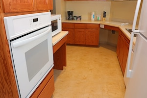 The kitchen in a new Beale Air Force Base, California, temporary lodging facility. (U.S. Air Force photo by Erica L. Fowler)
