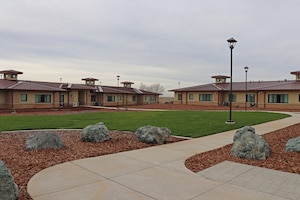 Exterior view of the new Beale Air Force Base, California, temporary lodging facility.