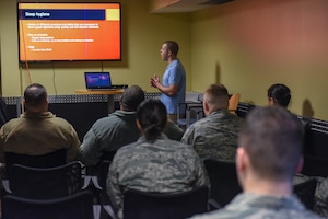 Jeff Stearns, an exercise physiologist with the 911th Force Support Squadron, teaches a class at the Pittsburgh International Airport Air Reserve Station, Pennsylvania, Jan. 11, 2020.