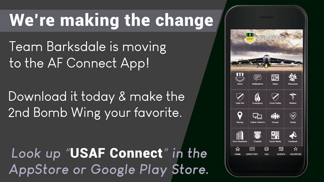 This graphic was used to inform the community about the transition to the Air Force Connect App. (U.S. Air Force graphic by Airman 1st Class Lillian Miller)