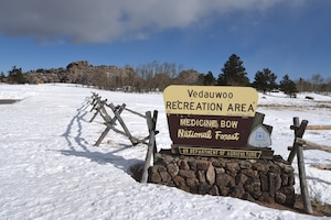At the entrance to Vedauwoo Recreation Area in Medicine Bow National Forest. (U. S. Air Force photo by Glenn S. Robertson)