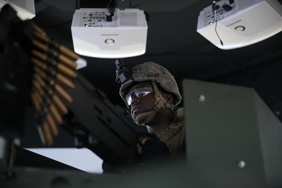 U.S. Marine mans a Humvee turret during a combat convoy simulation on Marine Corps Base Camp Pendleton, California, Nov. 13.