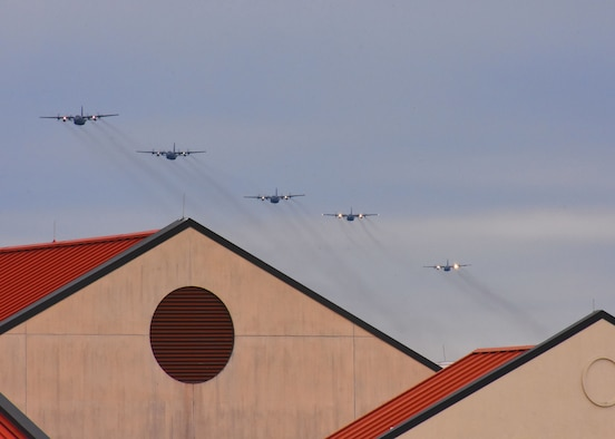 C-130's from the 908th Airlift Wing return to Maxwell Air Force Base. The planes temporarily relocated earlier last week as part of the weather evacuation plan. (U.S. Air Force photo by Senior Airman Max Goldberg)
