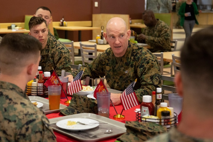 U.S. Marines stationed at Marine Corps Air Station New River have lunch with Sgt. Maj. Troy E. Black, center, the 19th sergeant major of the Marine Corps, during a visit to MCAS New River, North Carolina, Jan. 08, 2020. Black visited for familiarization with the current posture of Installation services, health and welfare of the service members, government employees and families within privatized military housing. (U.S. Marine Corps photo by Cpl. Dominique Osthoff)