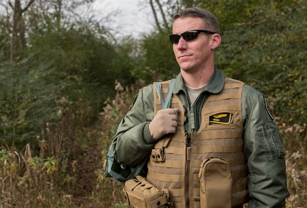 U.S. Air Force Lt. Col. Jonathan Kuntz, 633rd 1st Operations Support Squadron director of operations, waits to begin SERE training at Joint Base Langley-Eustis, Virginia, Dec. 12, 2019. The training is a requirement for aircrew members who may be flying over hostile territory. (U.S. Air Force photo by Airman 1st Class Sarah Dowe)