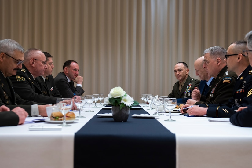 Chairman of the Joint Chiefs of Staff Gen. Mark A. Milley meets with Ukraine's Chief of the General Staff Lt. Gen. Ruslan Khomchak in Brussels, Belgium, Jan. 14, 2020. Ukraine is a key partner to NATO and plays a critical role in maintaining peace and stability in Europe.