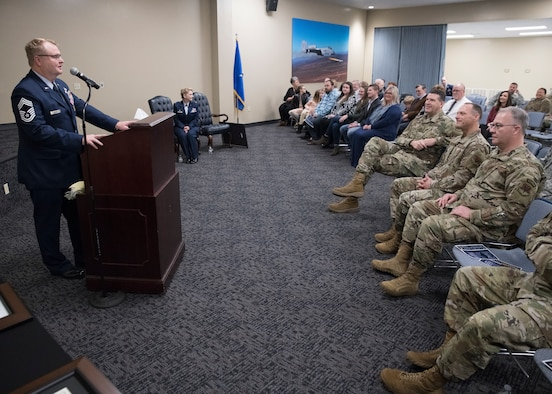 Chief Master Sgt. Edgar S. Mahan,188th Mission Support Group chief, addresses members of the 188th Wing during his retirement ceremony at Ebbing Air National Guard Base, Ark., Jan. 11, 2020. Mahan served 30 years in the United States armed forces including the Marines, Army National Guard, and Air National Guard. (U.S. Air National Guard photo by Tech. Sgt. Daniel Condit)