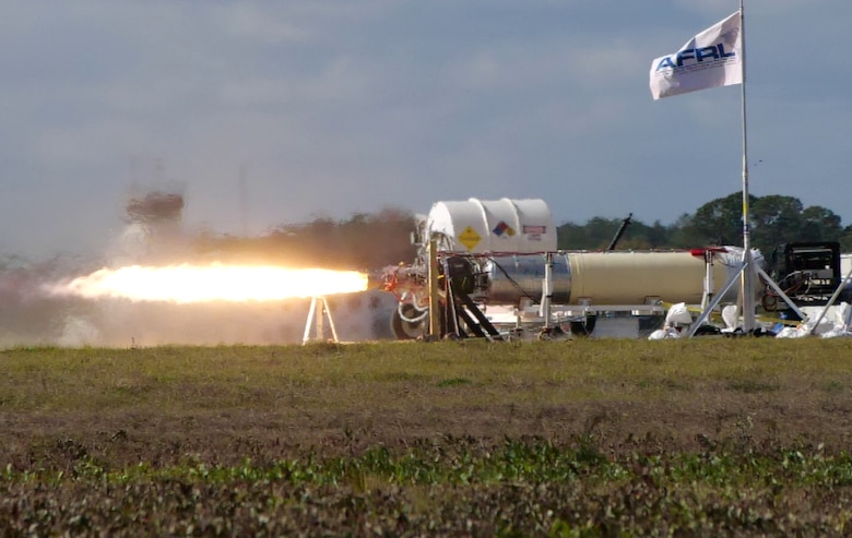 A recent X-60A hot fire test, conducted at Cecil Spaceport in Jacksonville, Florida. The X-60A, developed through an Air Force Research Laboratory Small Business Innovation Research contract, is an air-launched rocket designed for hypersonic flight research. (U.S. Air Force photo)