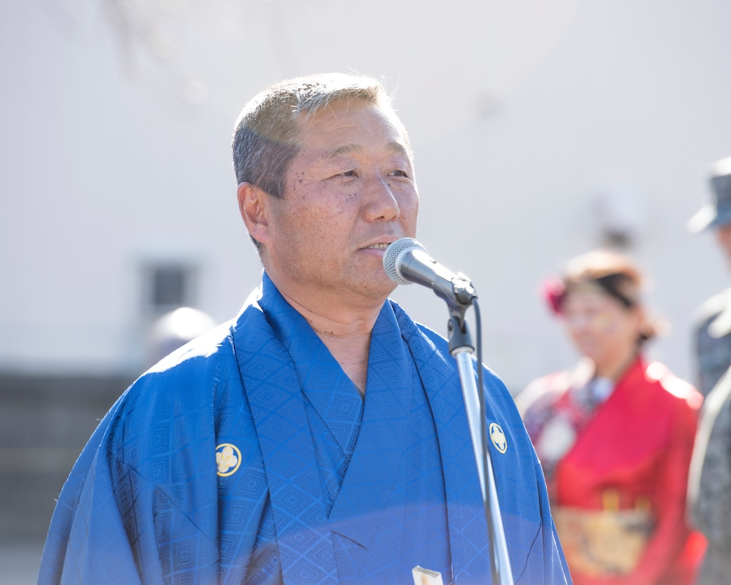 Yoichi Akimoto, president of the Japanese Welfare Association, gives opening remarks during the JWA New Year Fest, Jan.10, 2020, at Yokota Air Base, Japan.