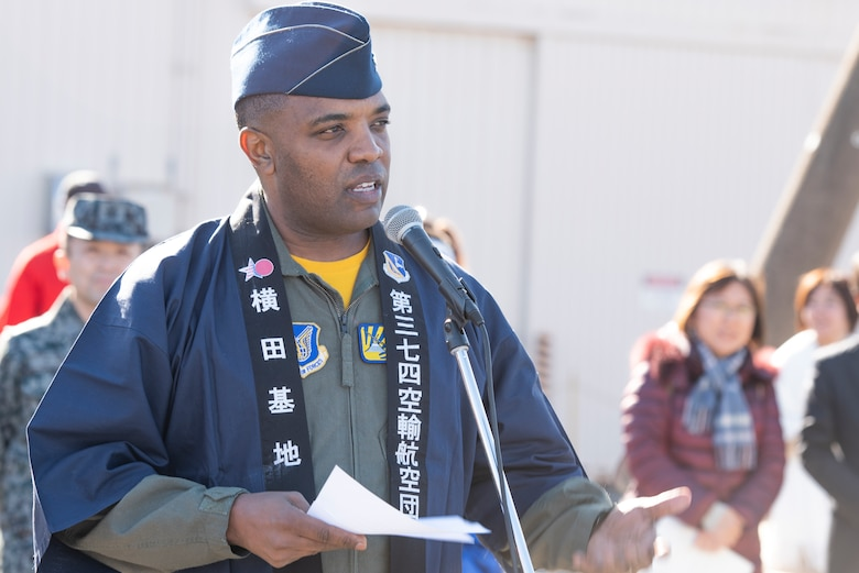 Col. Otis C. Jones, 374th Airlift Wing commander, provides opening remarks for the New Year Fest hosted by the Japanese Welfare Association, Jan.10, 2020, at Yokota Air Base, Japan.