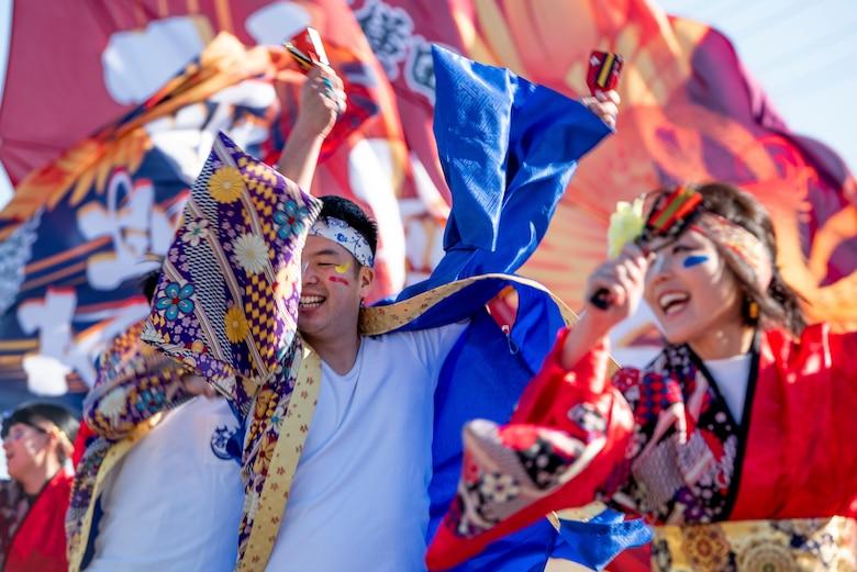 Members of Sokukai, Yosakoi dance performance group, perform during the New Year Fest hosted by the Japanese Welfare Association, Jan.10, 2020, at Yokota Air Base, Japan.