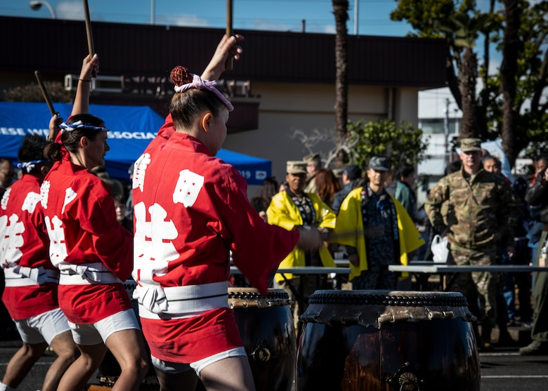 Members of the Samurai Taiko Drum Team perform during the New Year Fest hosted by the Japanese Welfare Association, Jan.10, 2020, at Yokota Air Base, Japan.