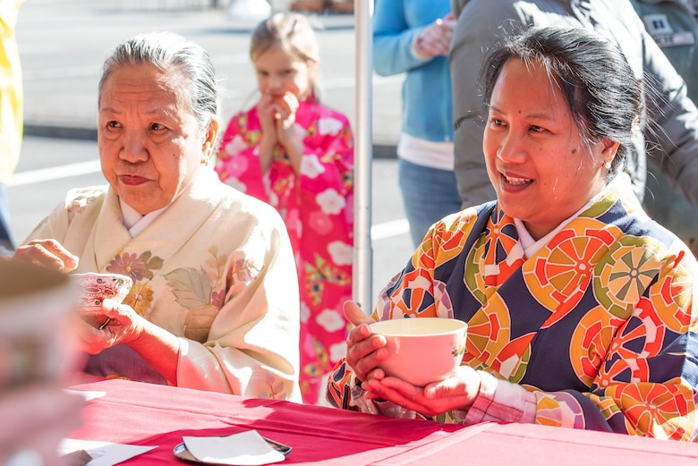 Members of Team Yokota experience Sado, the Japanese traditional tea ceremony, during the New Year Fest hosted by the Japanese Welfare Association, Jan.10, 2020, at Yokota Air Base, Japan