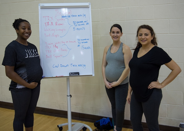 Participants in the prenatal fitness class pose for a photo at Joint Base Langley-Eustis, Virginia, Jan. 13, 2020.