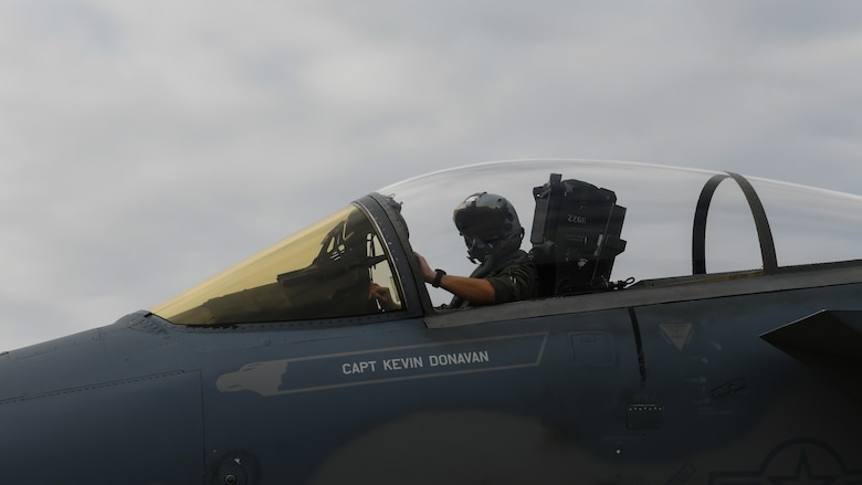 Capt. Keven Donavan, 67th Fighter Squadron pilot, brings his F-15C Eagle to a halt for refueling during Exercise Rumrunner at Marine Corps Air Station Futenma, Japan, Jan. 10, 2020. The 18th Wing and its joint partners executed the first WestPac Rumrunner exercise, which focused on defensive counter air capabilities and joint interoerpability using agile combat employment concepts. (U.S. Air Force photo by Staff Sgt. Benjamin Raughton)