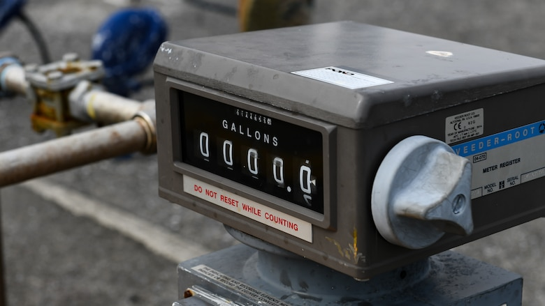 A fuel meter sits alongside an aircraft refueling station during Exercise WestPac Rumrunner at Marine Corps Air Station Futenma, Japan, Jan. 10, 2020. The 18th Wing and its joint partners executed the first WestPac Rumrunner exercise, which focused on defensive counter air capabilities and joint interoperability using agile combat employment concepts. (U.S. Air Force photos by Staff Sgt. Benjamin Raughton)