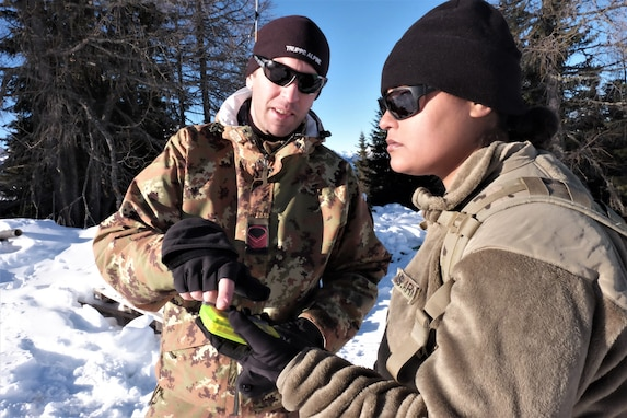U.S. Army Reserve Sgt. Lara R. Dasilva, a supply sergeant with the 2500th Digital Liaison Detachment, 7th Mission Support Command, and Caporal Maggiore Capo Thomas De Toni, an Italian Army instructor with the Ski and Climbing Platoon, 79th Company, 6th Alpine Regiment, use a Pieps avalanche beacon to locate a notional avalanche victim for winter survival training during exercise Alpine Rock in Toblach, Italy, January 11, 2020. Fifteen Soldiers from the 2500th participated in the winter survival training that emphasized small-unit tactical interoperability.