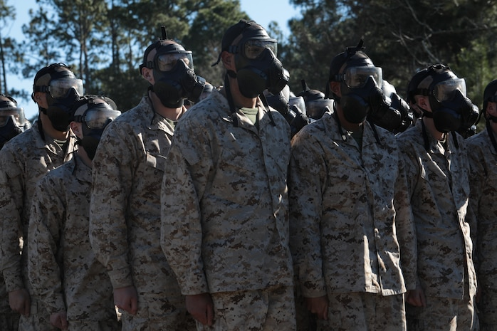 Recruits with Fox Company, 2nd Recruit Training Battalion, wait to enter the gas chamber before performing chemical, biological, radiological, and nuclear (CBRN) defense training at Marine Corps Recruit Depot Parris Island, S.C., Jan. 6, 2020. Training for CBRN defense is an event in which recruits are exposed to CS gas, in order to familiarize themselves with the use of a gasmask. (U.S. Marine Corps photo by Lance Cpl. Dylan Walters)