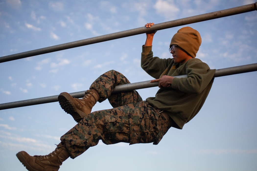"Recruits with Papa Company, 4th Recruit Training Battalion, complete numerous challenges during the Obstacle Course on Marine Corps Recruit Depot Parris Island, S.C., Jan. 7, 2020. This ""O-Course"" is comprised of various obstacles and is designed to instill confidence in recruits by overcoming physical challenges. 