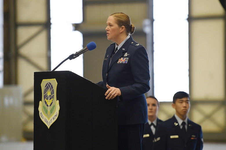 Col. Erin Staine-Pyne, 62nd Airlift Wing commander, speaks for the first time as the 62nd Airlift Wing commander to audience members at the change of command ceremony on Joint Base Lewis-McChord, Wash., Jan 10, 2020.