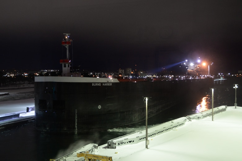 The last vessel to traverse the Poe Lock for the 2019-2020 shipping season was the 1,000-foot freighter Burns Harbor. The ship was up-bound from Burns Harbor, Indiana headed for Superior, Wisconsin for winter lay-up. The ship completed locking through January 15 at 6:44 a.m. This last vessel through the locks marks the end of a busy season and the beginning of yearly maintenance.