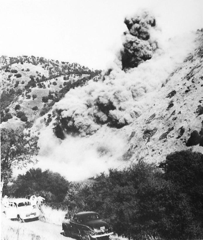 Pine Flat Dam first blast