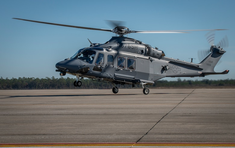 The MH-139A Grey Wolf lands at Duke Field, Fla., Dec. 19, 2019, before its unveiling and naming ceremony. The aircraft is set to replace the Air Force's fleet of UH-1N Huey aircraft and has capability improvements related to speed, range, endurance and payload. (U.S. Air Force photo by Samuel King Jr.)