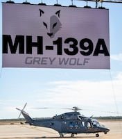 The MH-139A Grey Wolf psits at Duke Field, Fla., Dec. 19, 2019, before its unveiling and naming ceremony. The aircraft is set to replace the Air Force's fleet of UH-1N Huey aircraft and has capability improvements related to speed, range, endurance and payload. (U.S. Air Force photo by Samuel King Jr.)