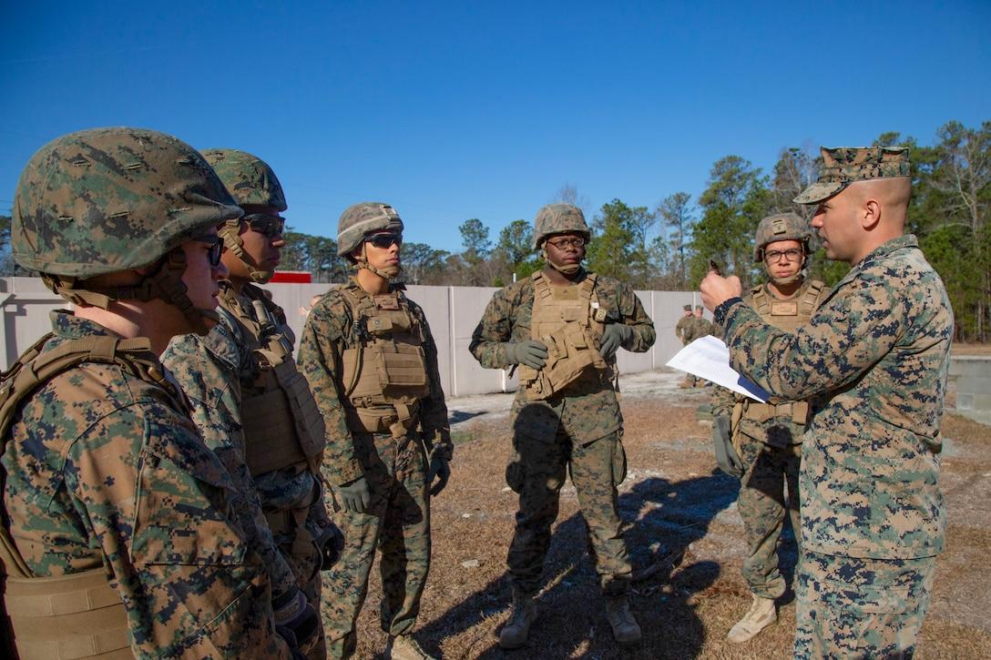 U.S. Marine mentors Marines with 2nd AA Bn, 2nd Marine Division, at the new Leadership Reaction Course on Marine Corps Base Camp Lejeune, North Carolina, Jan. 7.