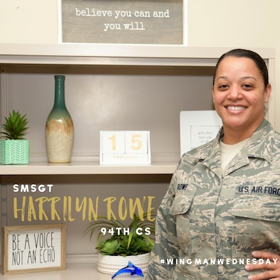 This week's featured wingman is Senior Master Sgt. Harrilyn Rowe, 94th Communications Squadron superintendent. #wingmanwednesday is a series spotlighting individuals around Dobbins Air Reserve Base. (U.S. Air Force graphic/Andrew Park)