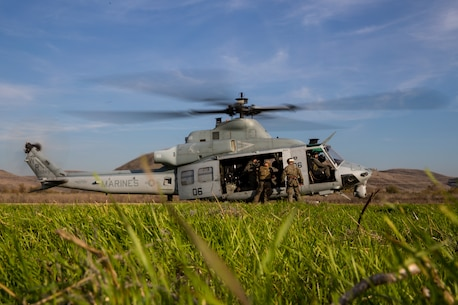 U.S. Marines climb into a UH-1Y Venom with Marine Light Attack Squadron 469 during a helicopter rope suspension technician (HRST) masters course at Marine Corps Base Camp Pendleton, California, Dec. 11, 2019.