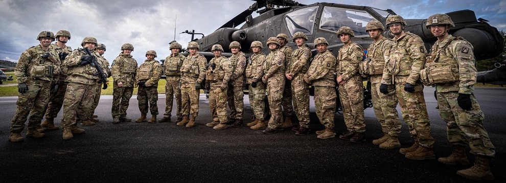 Members of British Army aviation conducted mission command alongside the 12th Combat Aviation Brigade staff during Dragoon Ready at Hohenfels Training Area.