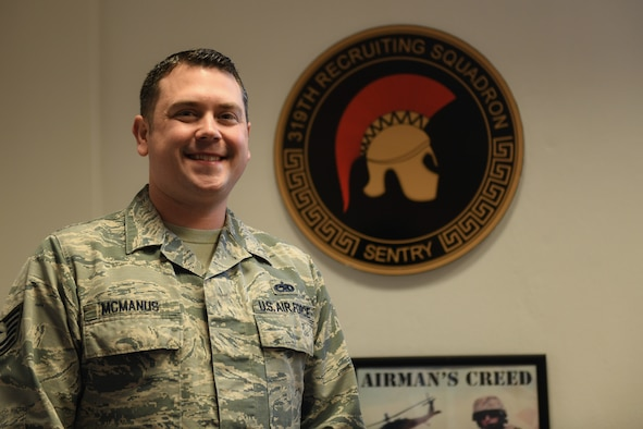 U.S. Air Force Tech. Sgt. Jeremy McManus, 319th Recruiting Squadron European operations program manager, poses for a photo at Aviano Air Base, Italy, Jan. 14, 2020. Aviano's recruiting office is located on Area F, Bldg. 1467, 2nd floor, Rm. 202. (U.S. Air Force photo by Airman 1st Class Ericka A. Woolever).