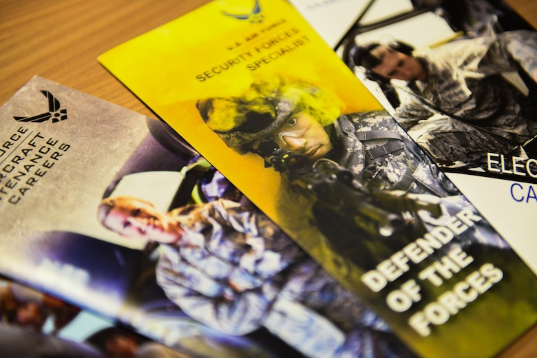 United States Air Force enlisted brochures are displayed on a desk at Aviano Air Base, Italy, Jan. 14, 2020. The U.S. Air Force recruited 29,831 newly enlisted airmen in fiscal year 2018. (U.S. Air Force photo by Airman 1st Class Ericka A. Woolever).
