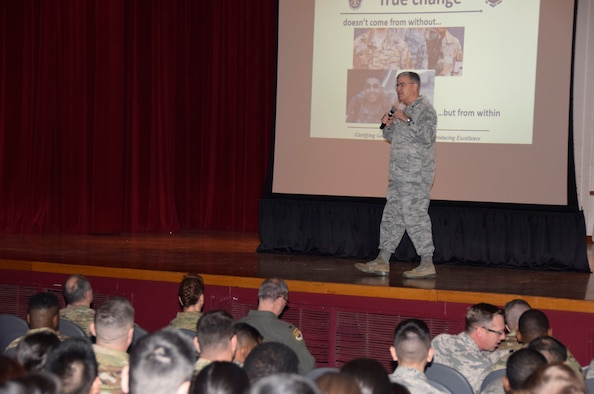 Chaplain (Lt. Col.) Theodore C. Nicholson, 433rd AW wing chaplain, talks to 433rd Airlift Wing commander's call attendees about linking New Year resolutions with lasting improved actions and identity through spiritual strength Jan. 11, 2020 in the Bob Hope Theater at Joint Base San Antonio-Lackland, Texas.
