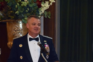 Brig. Gen. D. Scott Durham, Air Force Recruiting Service deputy commander, provides the key note speech at the wing annual awards banquet Jan. 11, 2020 at the Gateway Club at Joint Base San Antonio-Lackland, Texas.