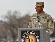 Maj. Gen. Patrick D. Sargent giving his remarks during the U.S. Army Medical Center of Excellence change of command ceremony at Joint Base San Antonio-Fort Sam Houston Jan. 10.