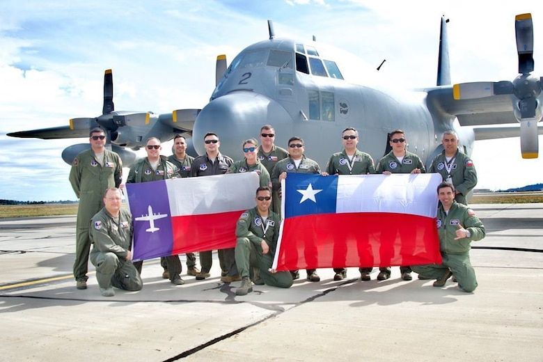 136th Airlift Wing and Chilean Air Force pose together.